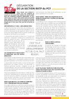 Déclaration de la section RATP du PCF